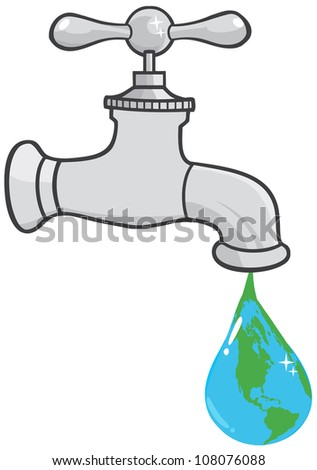 Leaking Faucet The Earth Planet Droplet. Raster Illustration.Vector version also available in portfolio. - stock photo