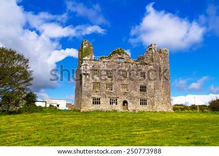 Leamaneh castle in Burren, Co. Clare - Ireland - stock photo