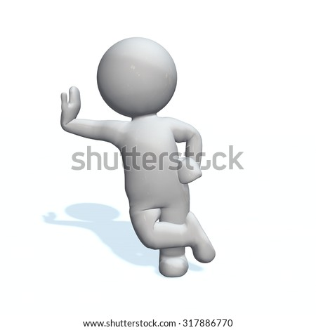 lean - 3D People isolated - stock photo