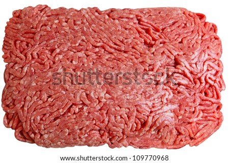 Lean ground beef isolated on white background - stock photo