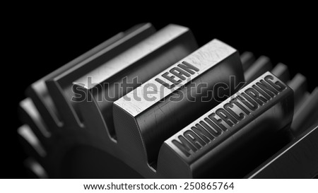 Lean Production on the Metal Gears on Black Background.  - stock photo