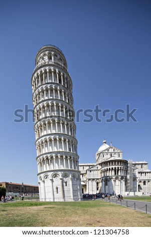 Leaning Pisa Tower and Cathedral in Pisa Italy