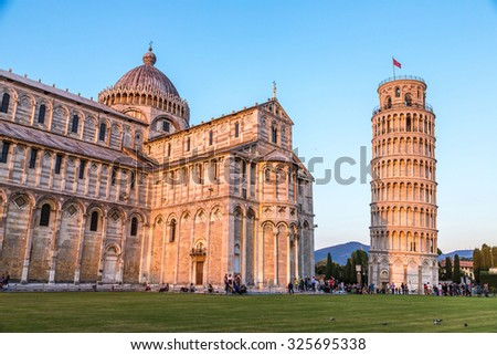 Leaning tower in a summer evening in Pisa, Italy - stock photo