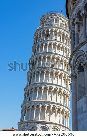 Leaning tower in Piazza dei Miracoli square of Pisa. Tuscany, Italy.