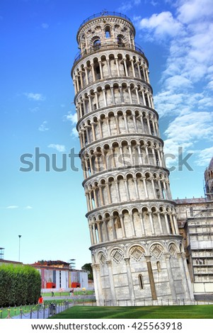 Leaning Tower in Pisa, Italy - stock photo
