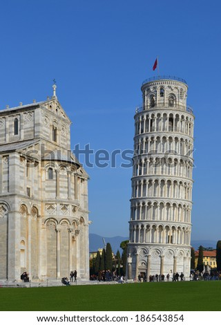 Leaning tower in Pisa, Italy. Pisa, Italy - January 27, 2013.