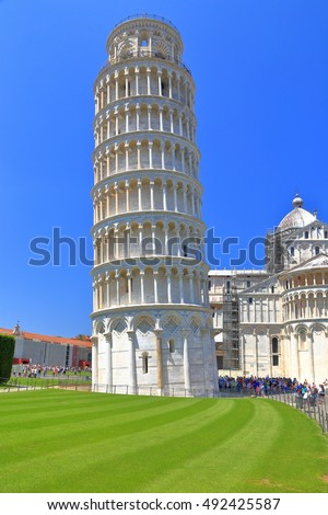 Leaning Tower near the Pisa Cathedral in Piazza dei Miracoli (Square of Miracles), Pisa, Tuscany, Italy