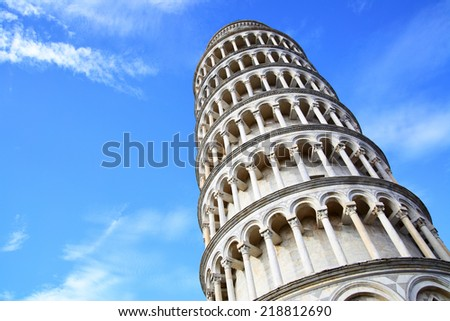 Leaning Tower of Pisa against blue sky with copyspace, Italy - stock photo