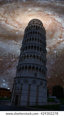 """Leaning tower of Pisa against milky way """"Elements of this image furnished by NASA - stock photo"""