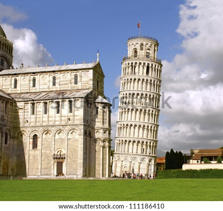 Leaning Tower of Pisa and Cathedral, Italy - stock photo