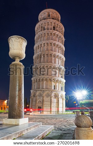 Leaning Tower of Pisa at night, Italy - stock photo