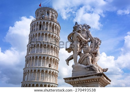 Leaning Tower of Pisa at sunny day, Italy - stock photo