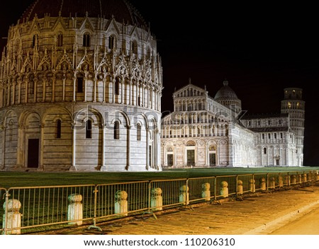 Leaning tower of Pisa by night
