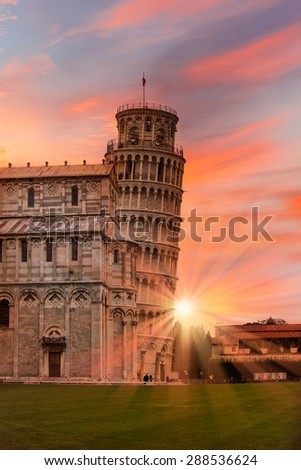 Leaning tower of Pisa isolated White , Italy - stock photo