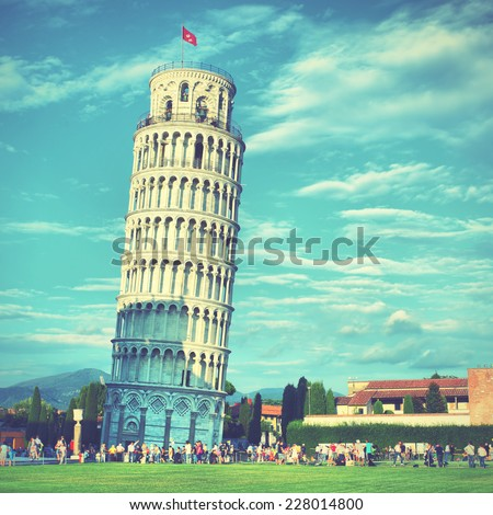 Leaning Tower of Pisa, Italy. Instagram style filtred image - stock photo