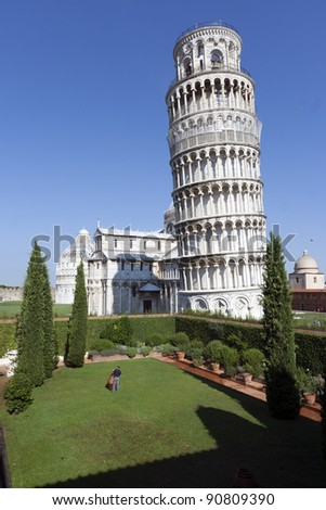 Leaning Tower of Pisa, Piazza dei Miracoli, Pisa, Italy - stock photo