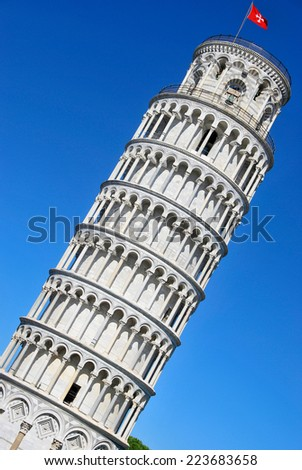 Leaning tower of Pisa. Piazza dei miracoli. Pisa. Tuscany. Italy - stock photo