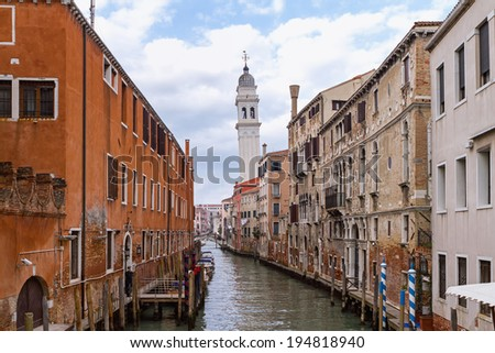 Leaning tower of San Giorgio dei Greci above the canal in Venice