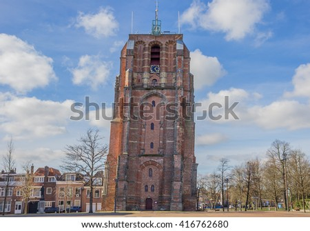 Leaning tower Oldehove in Leeuwarden, Netherlands - stock photo