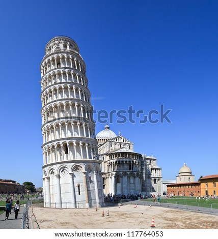Leaning Tower, Pisa - Italy. Image assembled from three vertical frames