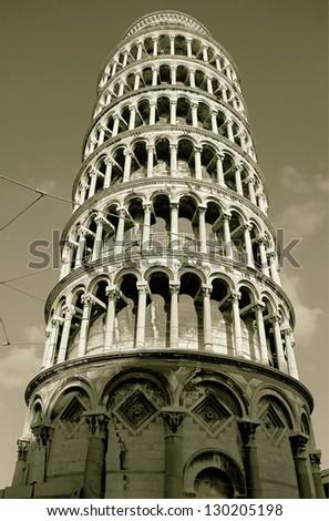 Leaning tower - Pisa, Tuscany, Italy (stylized retro) - stock photo