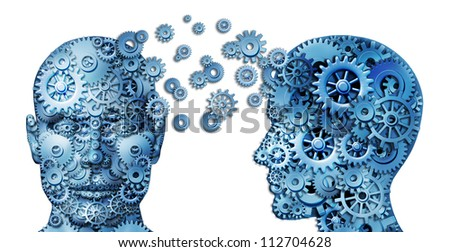Learn and lead teamwork and Leadership as an education symbol by two human heads frontal and side view shaped with gears as a brain idea made of cogs as working together in a team partnership.