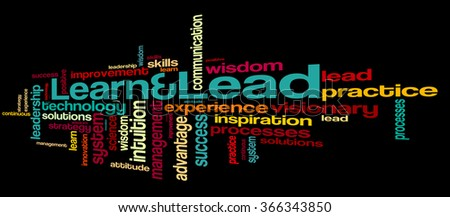 Learn and lead word cloud. Leadership typography background.