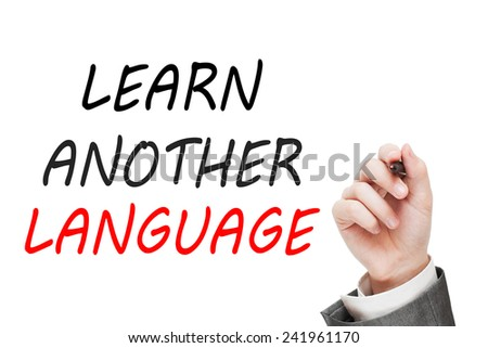 Learn another language. Education concept isolated on white background - stock photo