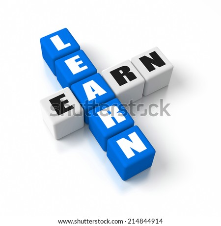 Learn Earn crosswords. Part of a business concepts series. - stock photo