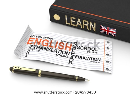 Learn english concept with words in a word cloud - stock photo