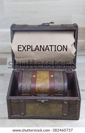 learn english is written on the Brown torn paper in the treasure box.  business concept