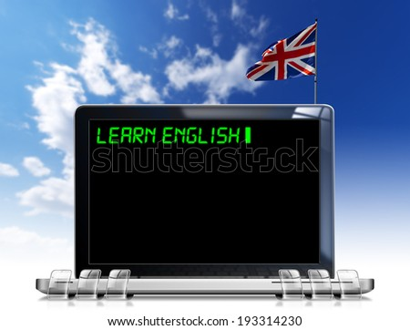 """Learn English Laptop Computer / Modern laptop with black screen and word """"learn english"""" on display and british flag on a blue sky - stock photo"""