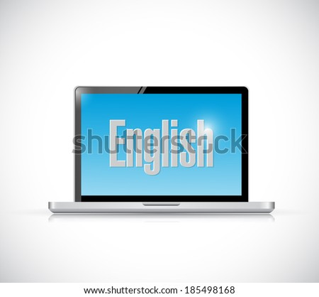 learn english on your computer illustration design over a white background - stock photo