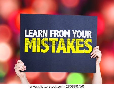 Learn From Your Mistakes card with bokeh background - stock photo