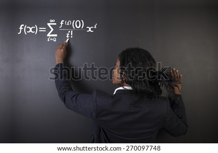 Learn maths, science or chemistry formula confident beautiful South African or African American woman teacher or student chalk blackboard background - stock photo