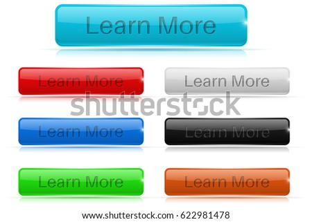 Learn more buttons. Glass rectangular icons. 3d illustration isolated on white background. Raster version