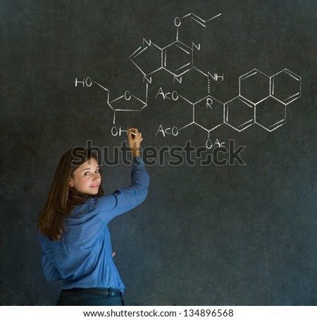 Learn science or chemistry formula confident beautiful woman teacher chalk blackboard background - stock photo