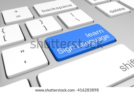 Learn Sign Language key on a computer keyboard for online classes to speak, read, and write the language, 3D rendering