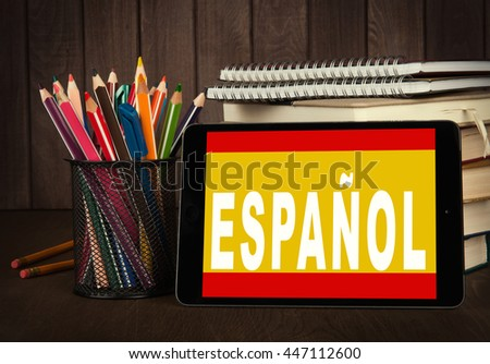 Learn spanish online. Language  school. Education concept - stock photo