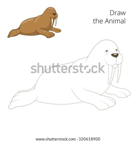 learn draw animal walrus raster version stock illustration 320618900