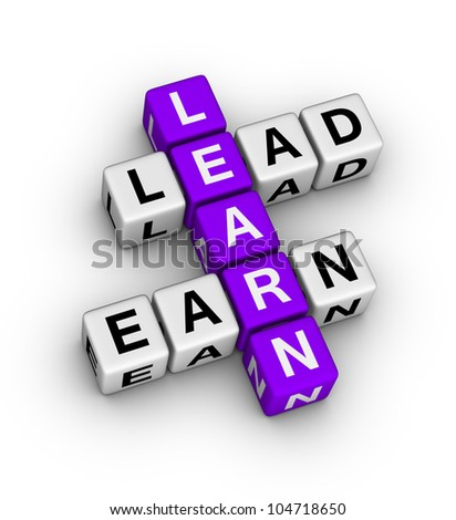 Learn to Lead and Earn crossword puzzle - stock photo