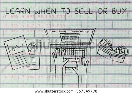learn when to sell or buy: online trading user with wallet and stats on stock market data - stock photo