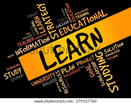 LEARN word cloud, education concept - stock photo