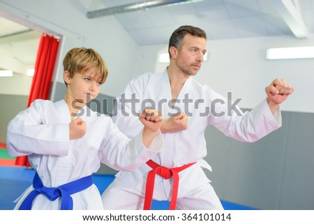 Learning a martial art - stock photo