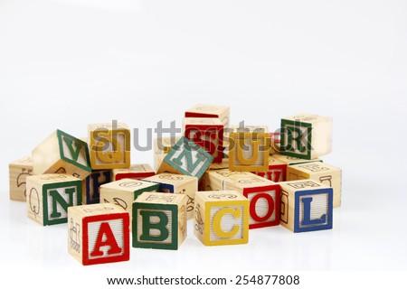 Learning blocks on plain background - stock photo