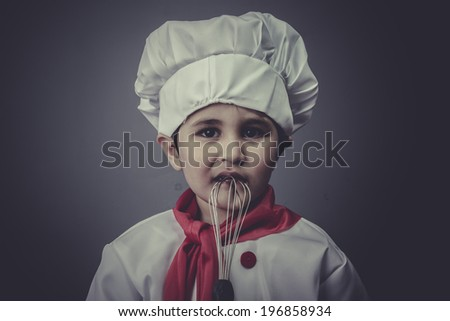 learning child dress funny chef, cooking utensils - stock photo