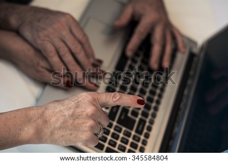 Learning computer skills  - stock photo