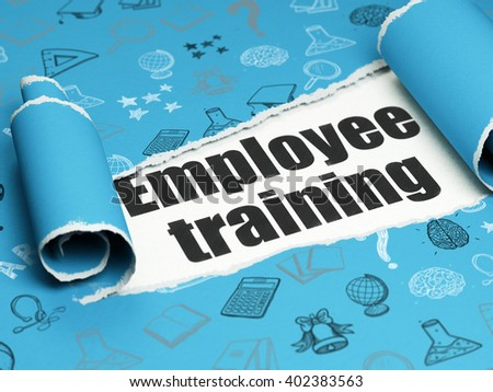 Learning concept: black text Employee Training under the curled piece of Blue torn paper with  Hand Drawn Education Icons, 3D rendering