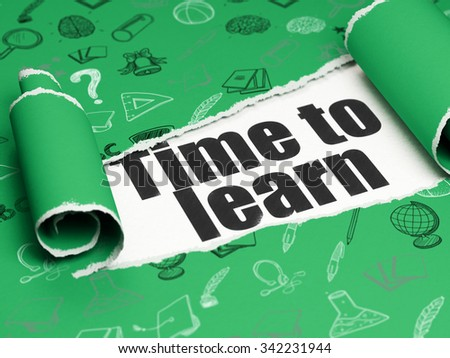 Learning concept: black text Time to Learn under the curled piece of Green torn paper with  Hand Drawn Education Icons - stock photo