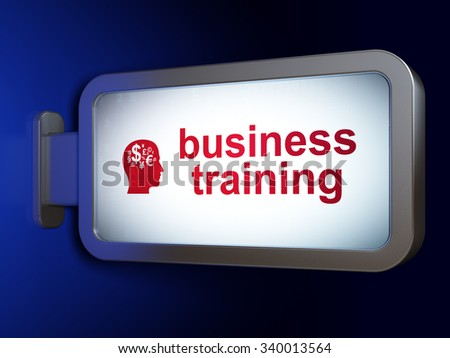 Learning concept: Business Training and Head With Finance Symbol on advertising billboard background, 3d render - stock photo